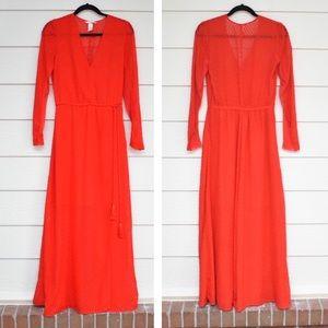 H&M Red Long Sleeve Deep V Neck Maxi Dress